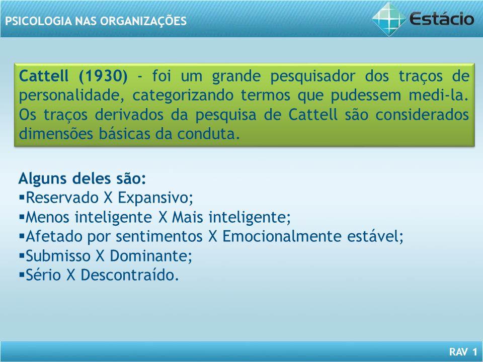 RAV 1 PSICOLOGIA NAS ORGANIZAÇÕES Cattell (1930) - foi um grande pesquisador dos traços de personalidade, categorizando termos que pudessem medi-la. O