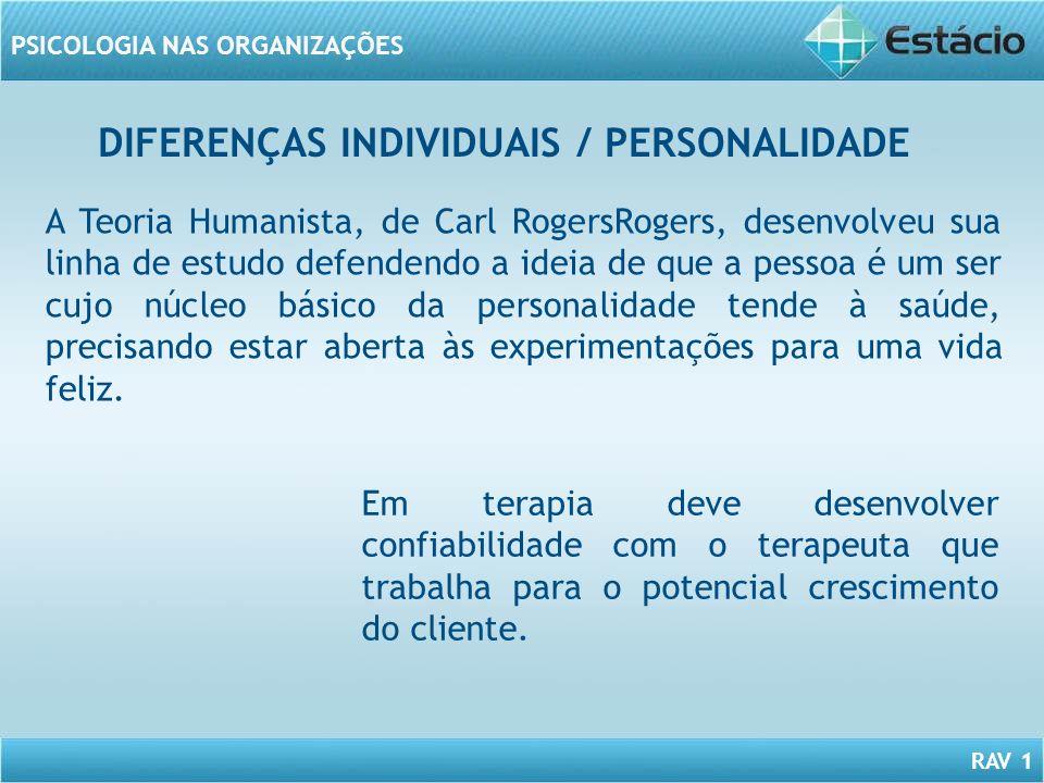 RAV 1 PSICOLOGIA NAS ORGANIZAÇÕES DIFERENÇAS INDIVIDUAIS / PERSONALIDADE A Teoria Humanista, de Carl RogersRogers, desenvolveu sua linha de estudo def
