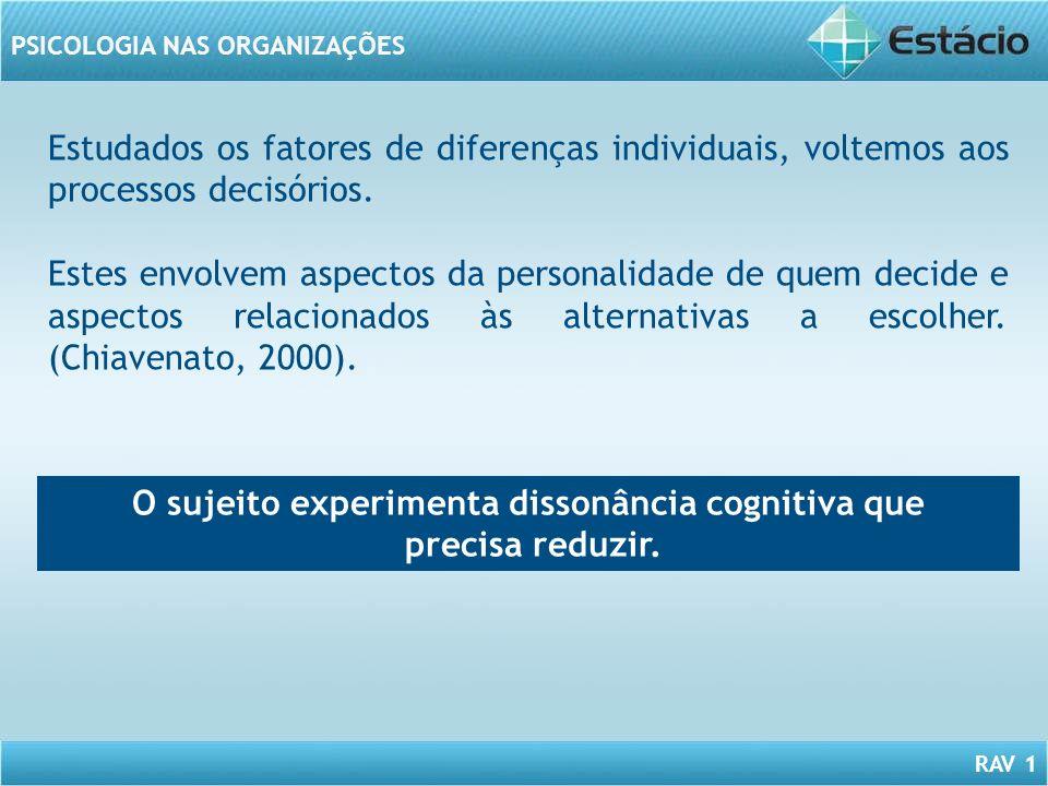 RAV 1 PSICOLOGIA NAS ORGANIZAÇÕES Estudados os fatores de diferenças individuais, voltemos aos processos decisórios. Estes envolvem aspectos da person
