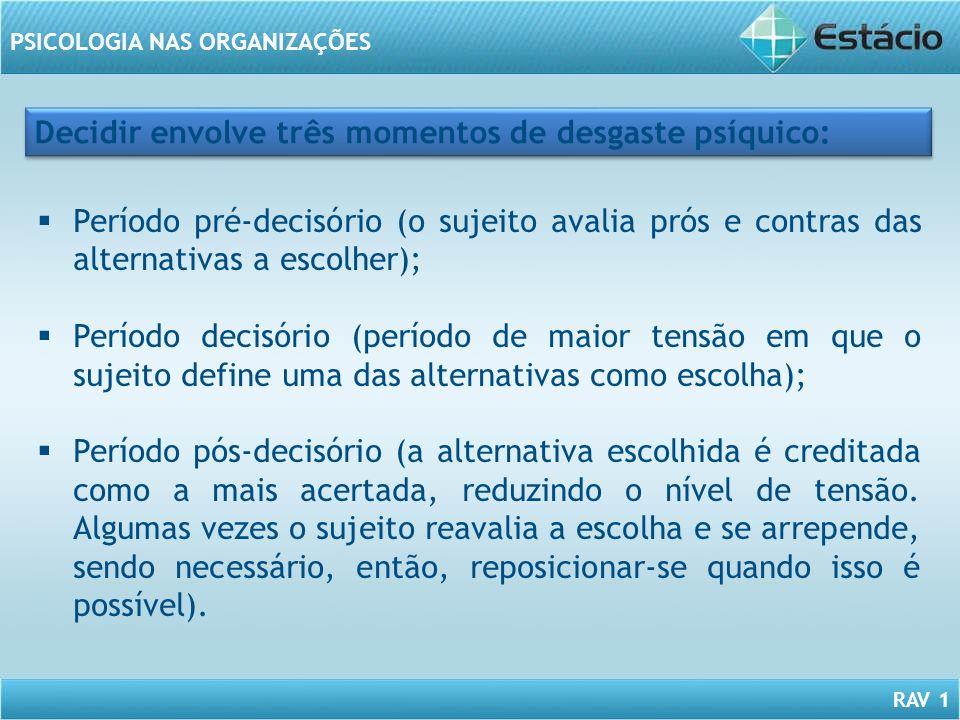 RAV 1 PSICOLOGIA NAS ORGANIZAÇÕES Decidir envolve três momentos de desgaste psíquico: Período pré-decisório (o sujeito avalia prós e contras das alter