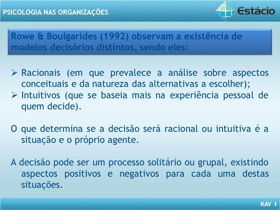RAV 1 PSICOLOGIA NAS ORGANIZAÇÕES Racionais (em que prevalece a análise sobre aspectos conceituais e da natureza das alternativas a escolher); Intuiti