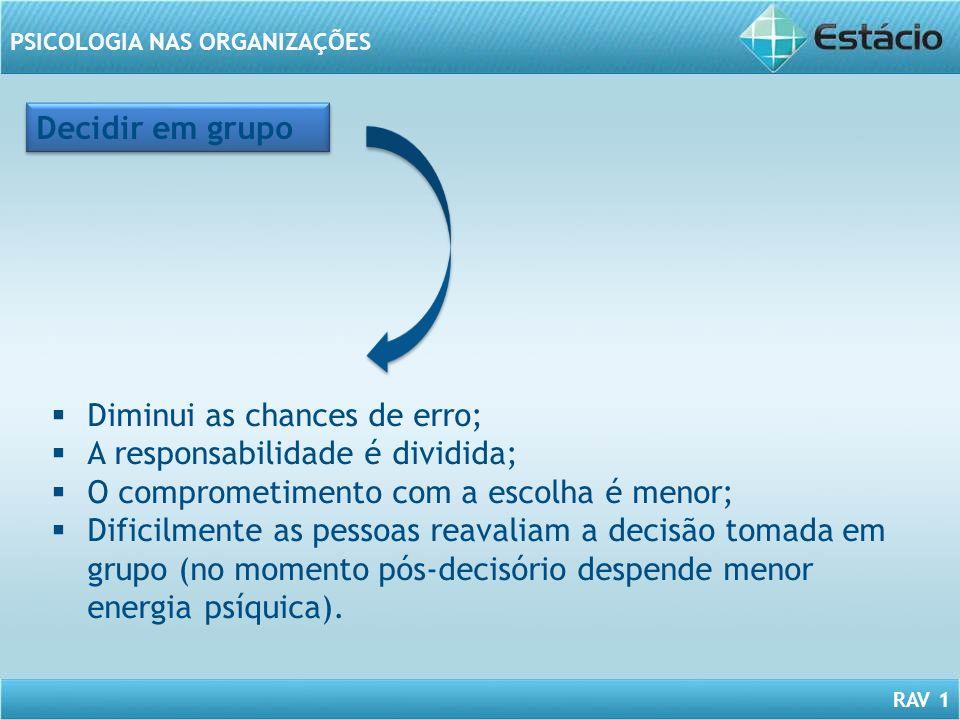 RAV 1 PSICOLOGIA NAS ORGANIZAÇÕES Decidir em grupo Diminui as chances de erro; A responsabilidade é dividida; O comprometimento com a escolha é menor;