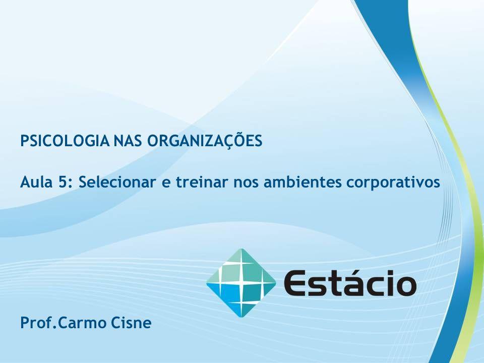 RAV 1 PSICOLOGIA NAS ORGANIZAÇÕES Aula 5: Selecionar e treinar nos ambientes corporativos Prof.Carmo Cisne
