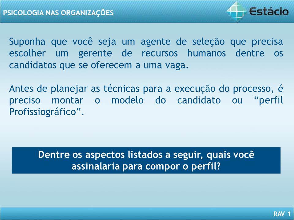 RAV 1 PSICOLOGIA NAS ORGANIZAÇÕES Suponha que você seja um agente de seleção que precisa escolher um gerente de recursos humanos dentre os candidatos