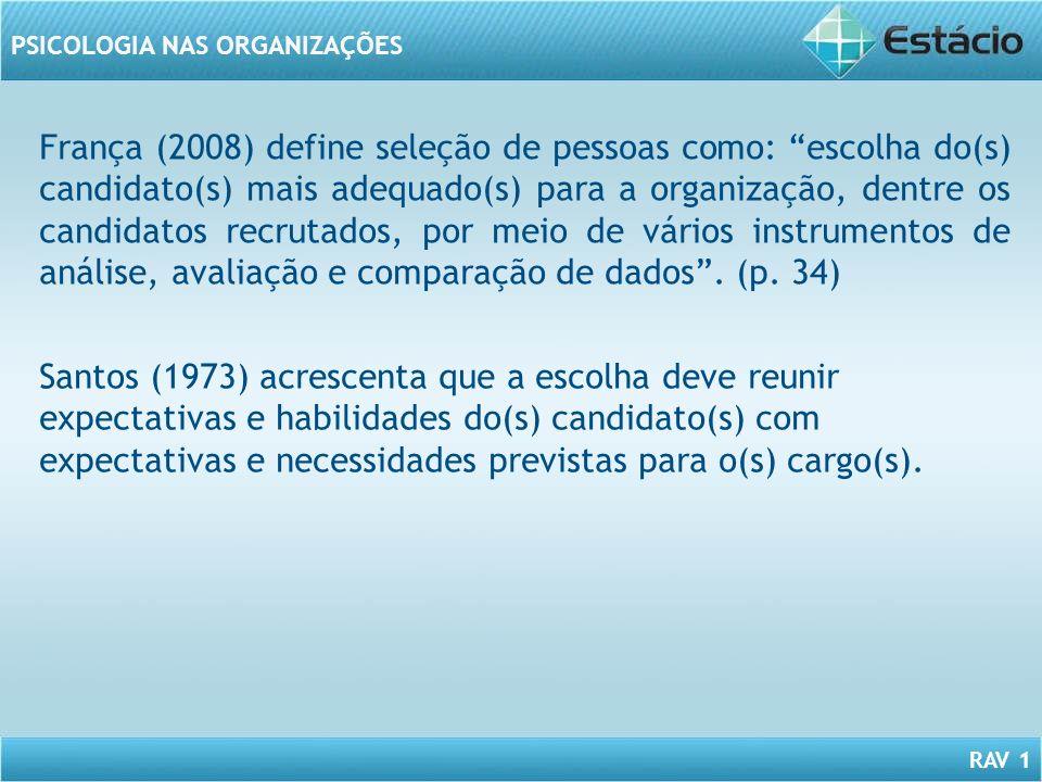 RAV 1 PSICOLOGIA NAS ORGANIZAÇÕES França (2008) define seleção de pessoas como: escolha do(s) candidato(s) mais adequado(s) para a organização, dentre
