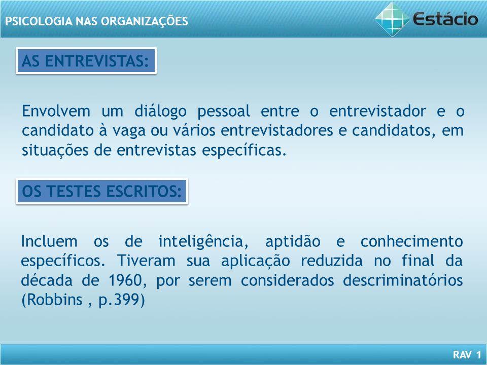 RAV 1 PSICOLOGIA NAS ORGANIZAÇÕES Envolvem um diálogo pessoal entre o entrevistador e o candidato à vaga ou vários entrevistadores e candidatos, em si