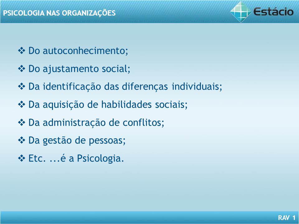 RAV 1 PSICOLOGIA NAS ORGANIZAÇÕES Do autoconhecimento; Do ajustamento social; Da identificação das diferenças individuais; Da aquisição de habilidades