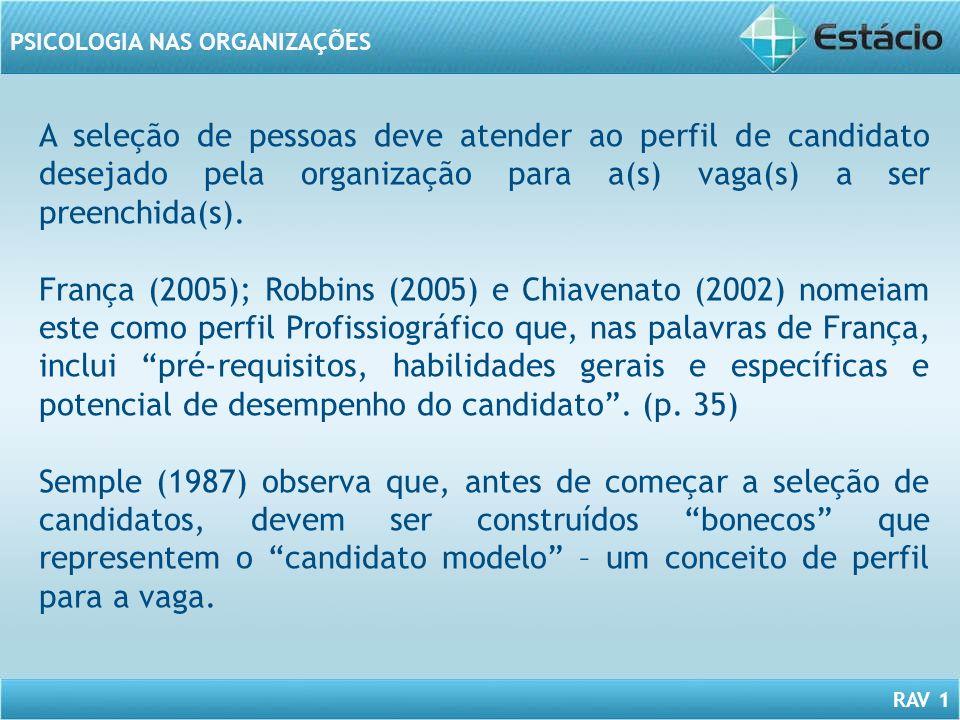 RAV 1 PSICOLOGIA NAS ORGANIZAÇÕES A seleção de pessoas deve atender ao perfil de candidato desejado pela organização para a(s) vaga(s) a ser preenchid