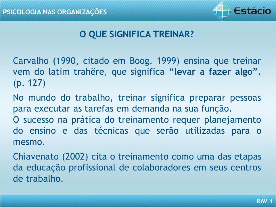 RAV 1 PSICOLOGIA NAS ORGANIZAÇÕES O QUE SIGNIFICA TREINAR? Carvalho (1990, citado em Boog, 1999) ensina que treinar vem do latim trahëre, que signific