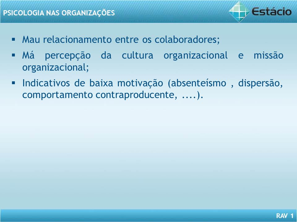 RAV 1 PSICOLOGIA NAS ORGANIZAÇÕES Mau relacionamento entre os colaboradores; Má percepção da cultura organizacional e missão organizacional; Indicativ