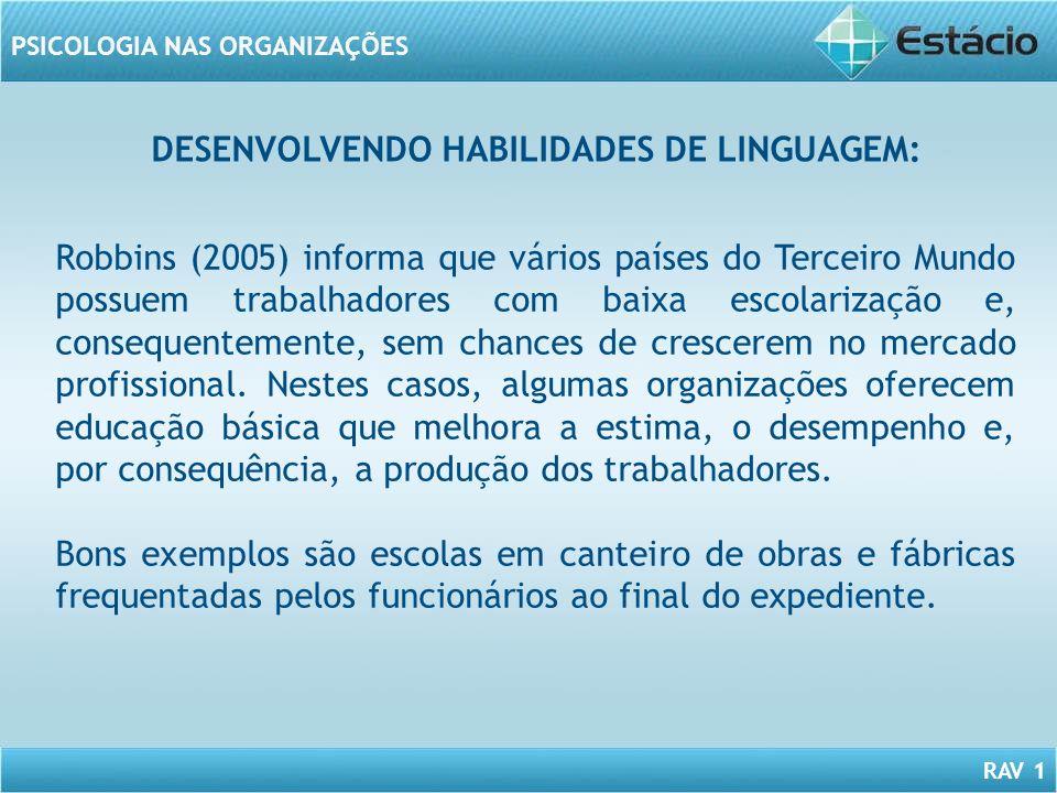 RAV 1 PSICOLOGIA NAS ORGANIZAÇÕES DESENVOLVENDO HABILIDADES DE LINGUAGEM: Robbins (2005) informa que vários países do Terceiro Mundo possuem trabalhad