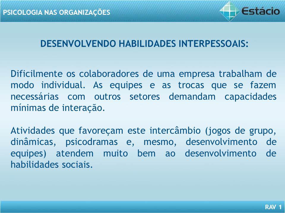 RAV 1 PSICOLOGIA NAS ORGANIZAÇÕES DESENVOLVENDO HABILIDADES INTERPESSOAIS: Dificilmente os colaboradores de uma empresa trabalham de modo individual.