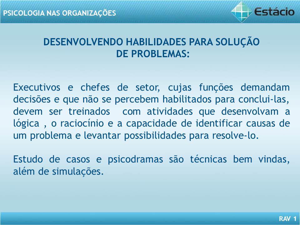 RAV 1 PSICOLOGIA NAS ORGANIZAÇÕES DESENVOLVENDO HABILIDADES PARA SOLUÇÃO DE PROBLEMAS: Executivos e chefes de setor, cujas funções demandam decisões e