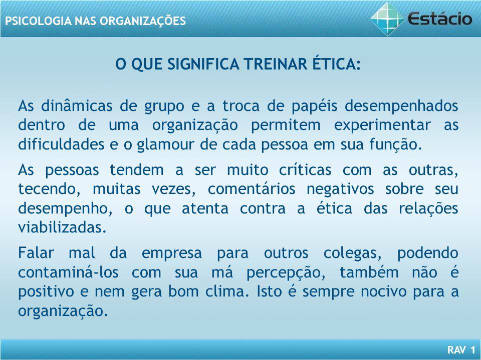 RAV 1 PSICOLOGIA NAS ORGANIZAÇÕES O QUE SIGNIFICA TREINAR ÉTICA: As dinâmicas de grupo e a troca de papéis desempenhados dentro de uma organização per