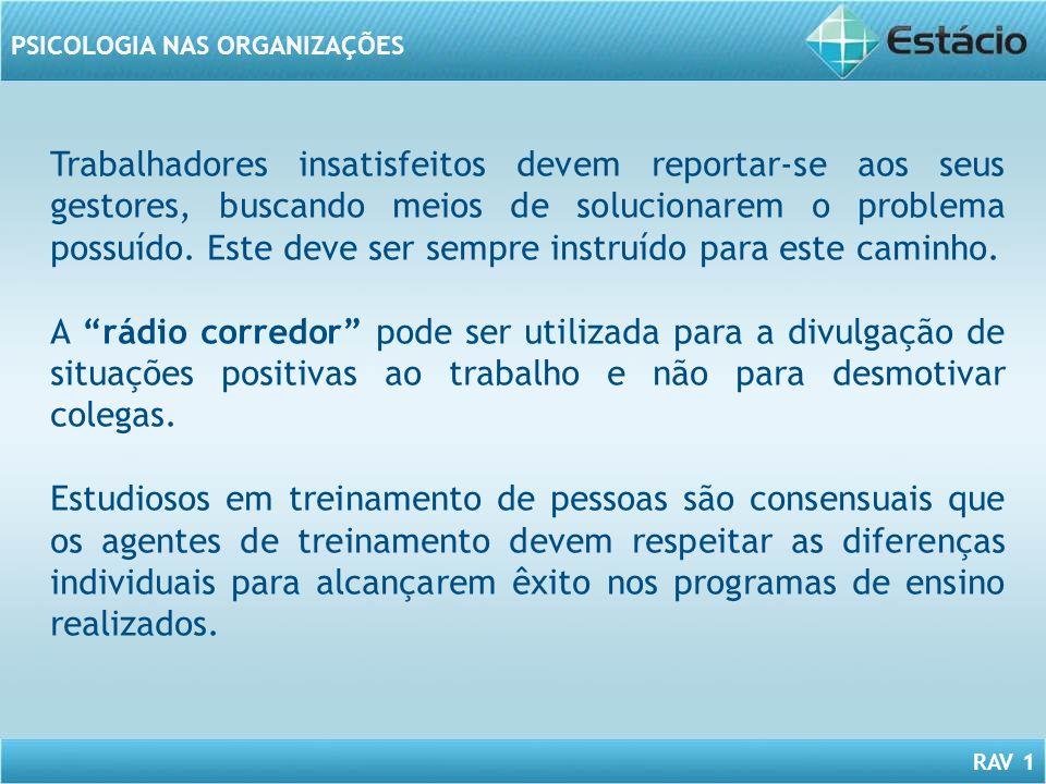 RAV 1 PSICOLOGIA NAS ORGANIZAÇÕES Trabalhadores insatisfeitos devem reportar-se aos seus gestores, buscando meios de solucionarem o problema possuído.