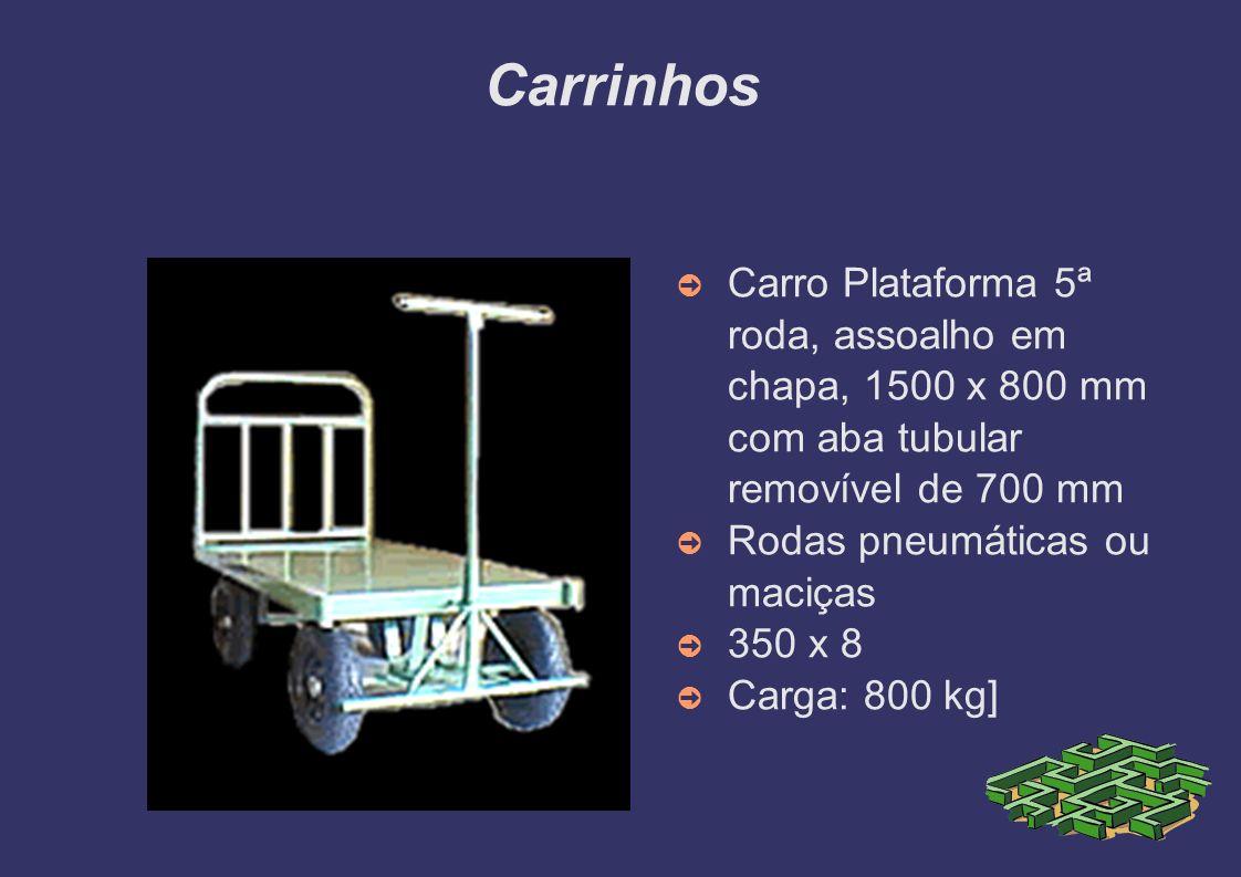 Carrinhos Carro Transbloco 5ª Roda A) 1200X650X700MM B) 1500X800X700MM Rodas Pneumáticas 350X8 A) 500 KG B) 800 KG