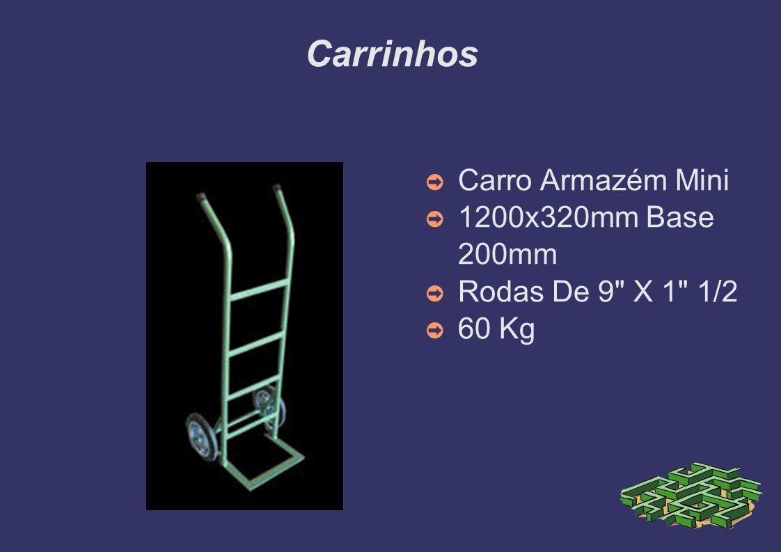 Carrinhos Carro Armazém Mini 1200x320mm Base 200mm Rodas De 9