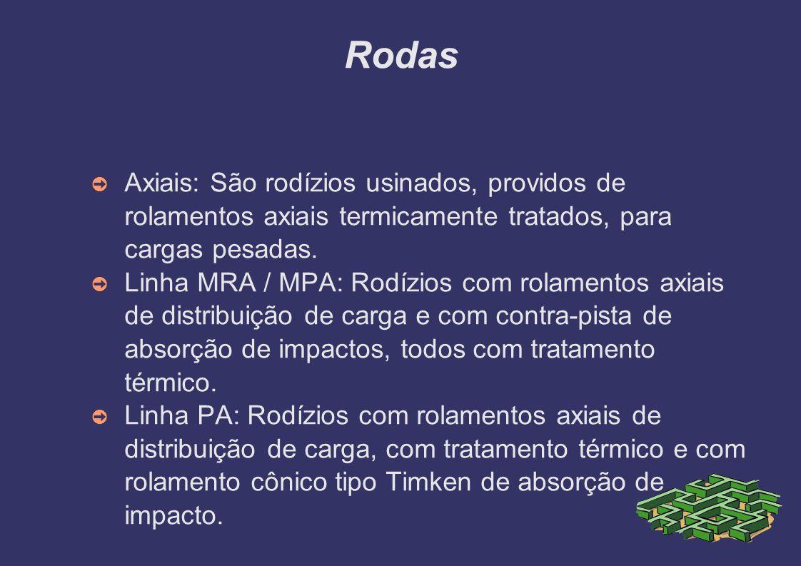 Rodas Axiais: São rodízios usinados, providos de rolamentos axiais termicamente tratados, para cargas pesadas. Linha MRA / MPA: Rodízios com rolamento