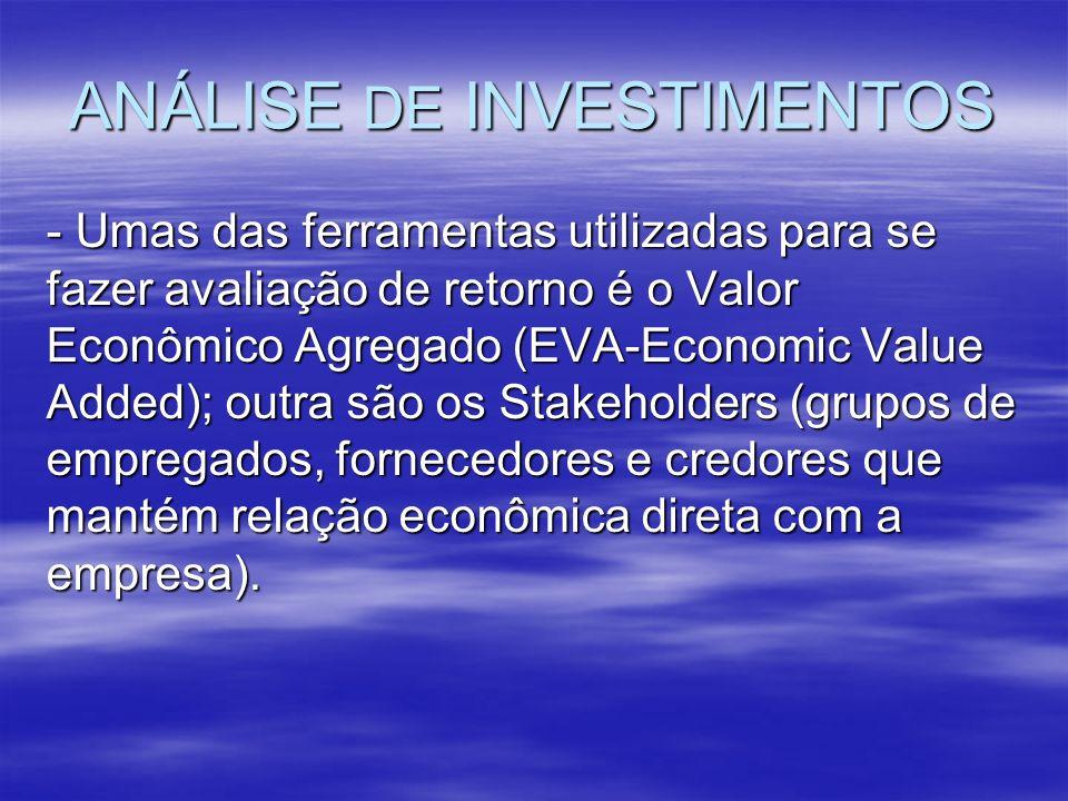 ANÁLISE DE INVESTIMENTOS - Umas das ferramentas utilizadas para se fazer avaliação de retorno é o Valor Econômico Agregado (EVA-Economic Value Added);