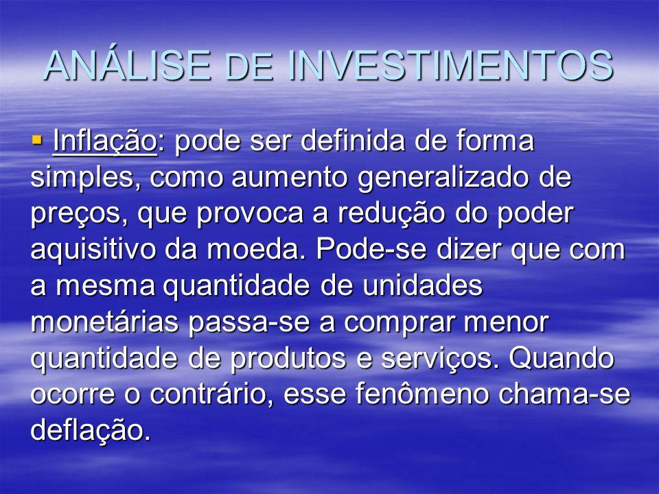 ANÁLISE DE INVESTIMENTOS Inflação: pode ser definida de forma simples, como aumento generalizado de preços, que provoca a redução do poder aquisitivo