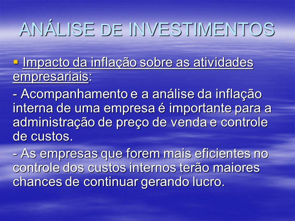 ANÁLISE DE INVESTIMENTOS Impacto da inflação sobre as atividades empresariais: Impacto da inflação sobre as atividades empresariais: - Acompanhamento
