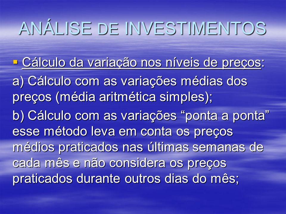 ANÁLISE DE INVESTIMENTOS Cálculo da variação nos níveis de preços: Cálculo da variação nos níveis de preços: a) Cálculo com as variações médias dos pr
