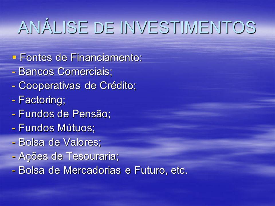 ANÁLISE DE INVESTIMENTOS Fontes de Financiamento: Fontes de Financiamento: - Bancos Comerciais; - Cooperativas de Crédito; - Factoring; - Fundos de Pe