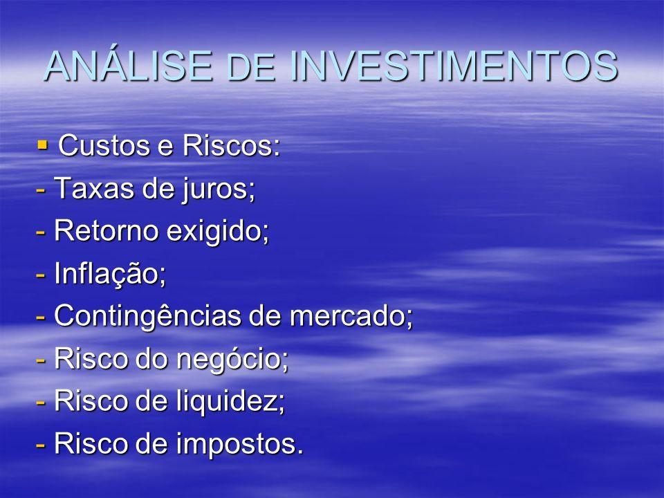ANÁLISE DE INVESTIMENTOS Custos e Riscos: Custos e Riscos: - Taxas de juros; - Retorno exigido; - Inflação; - Contingências de mercado; - Risco do neg