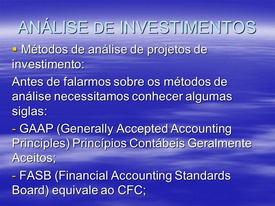 ANÁLISE DE INVESTIMENTOS Métodos de análise de projetos de investimento: Métodos de análise de projetos de investimento: Antes de falarmos sobre os mé