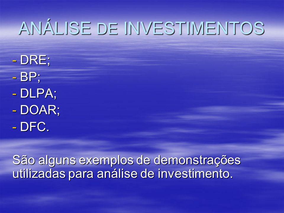 ANÁLISE DE INVESTIMENTOS - DRE; - BP; - DLPA; - DOAR; - DFC. São alguns exemplos de demonstrações utilizadas para análise de investimento.