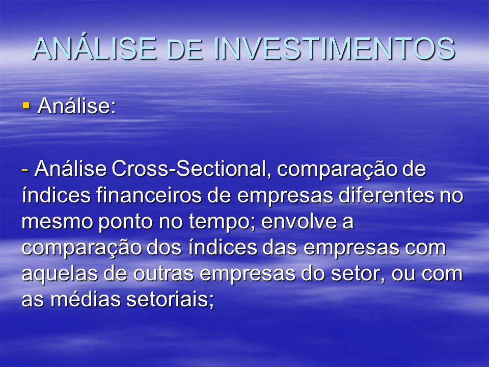 ANÁLISE DE INVESTIMENTOS Análise: Análise: - Análise Cross-Sectional, comparação de índices financeiros de empresas diferentes no mesmo ponto no tempo