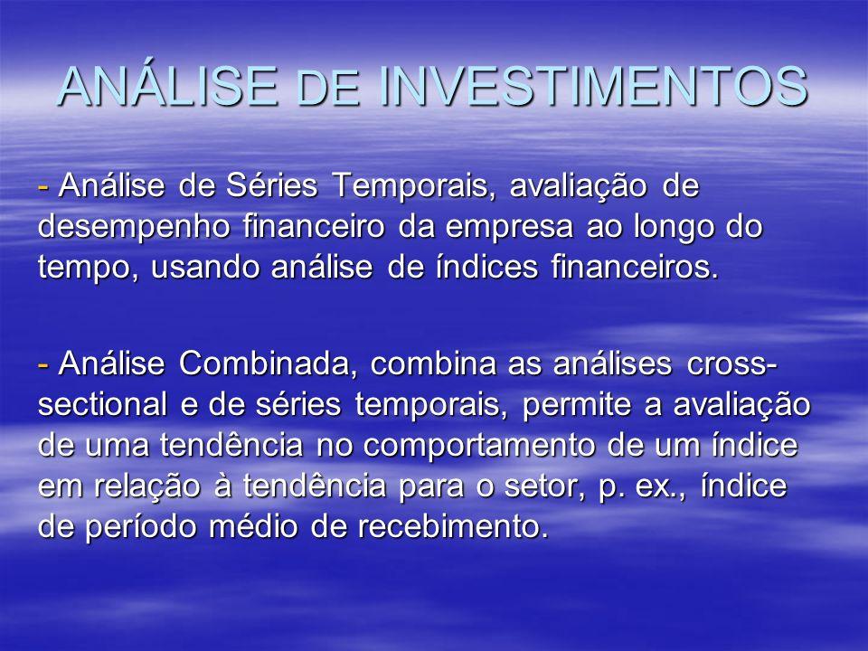 ANÁLISE DE INVESTIMENTOS - Análise de Séries Temporais, avaliação de desempenho financeiro da empresa ao longo do tempo, usando análise de índices fin