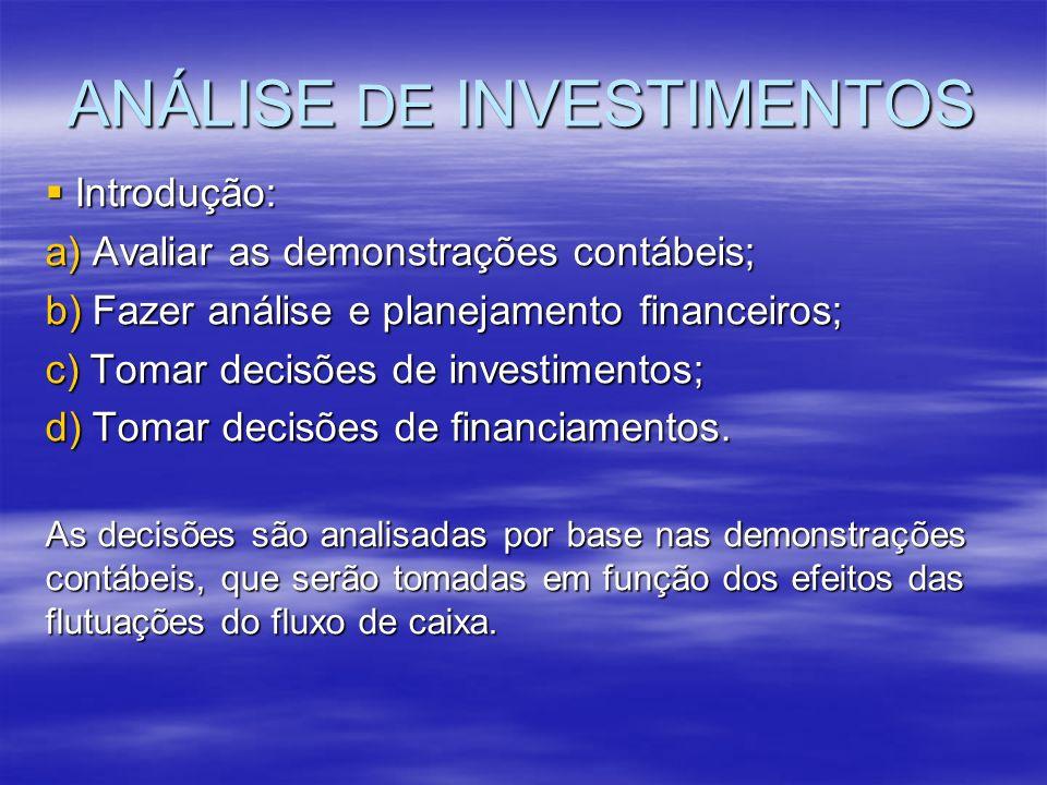 ANÁLISE DE INVESTIMENTOS Introdução: Introdução: a) Avaliar as demonstrações contábeis; b) Fazer análise e planejamento financeiros; c) Tomar decisões