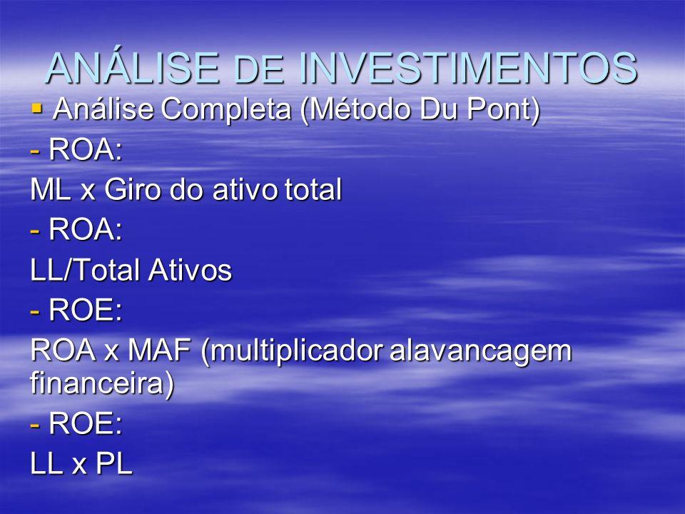 ANÁLISE DE INVESTIMENTOS Análise Completa (Método Du Pont) Análise Completa (Método Du Pont) - ROA: ML x Giro do ativo total - ROA: LL/Total Ativos -
