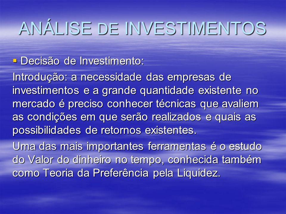 ANÁLISE DE INVESTIMENTOS Decisão de Investimento: Decisão de Investimento: Introdução: a necessidade das empresas de investimentos e a grande quantida