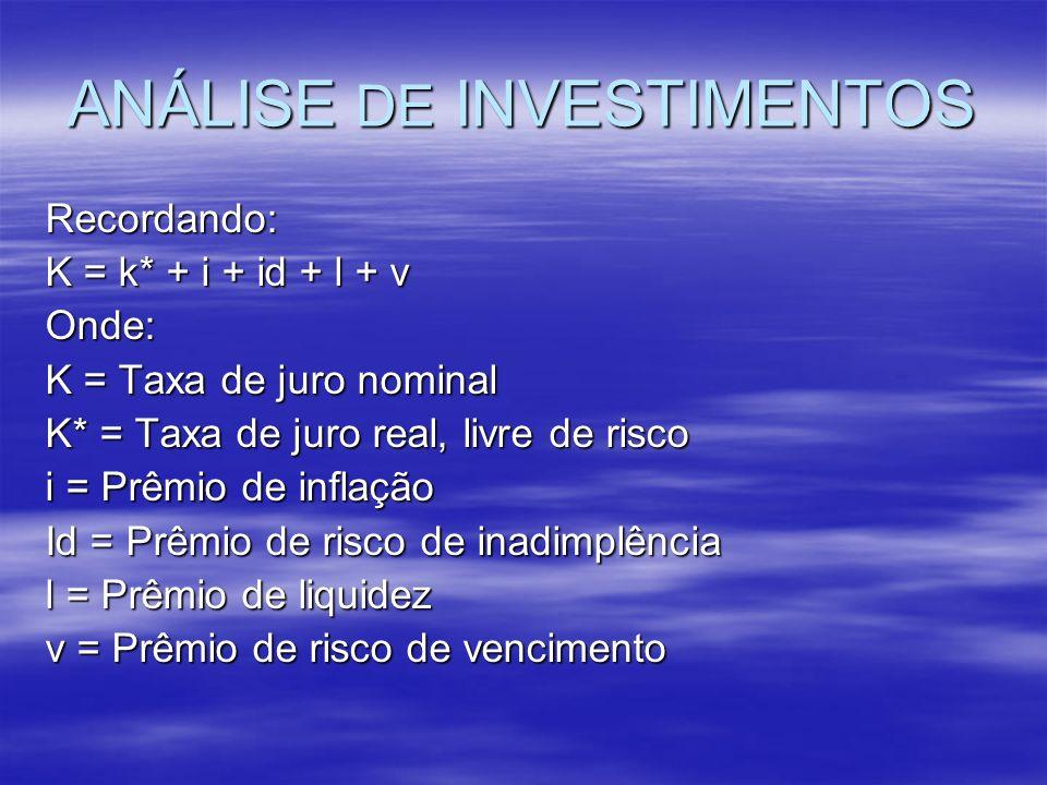 ANÁLISE DE INVESTIMENTOS Recordando: K = k* + i + id + l + v Onde: K = Taxa de juro nominal K* = Taxa de juro real, livre de risco i = Prêmio de infla