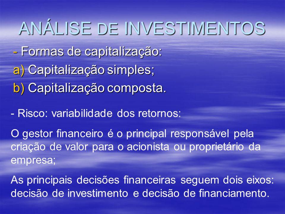 ANÁLISE DE INVESTIMENTOS - Formas de capitalização: a) Capitalização simples; b) Capitalização composta. - Risco: variabilidade dos retornos: O gestor