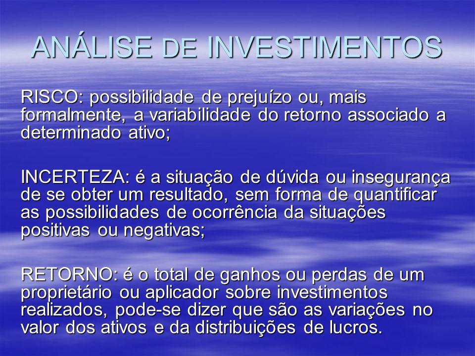 ANÁLISE DE INVESTIMENTOS RISCO: possibilidade de prejuízo ou, mais formalmente, a variabilidade do retorno associado a determinado ativo; INCERTEZA: é