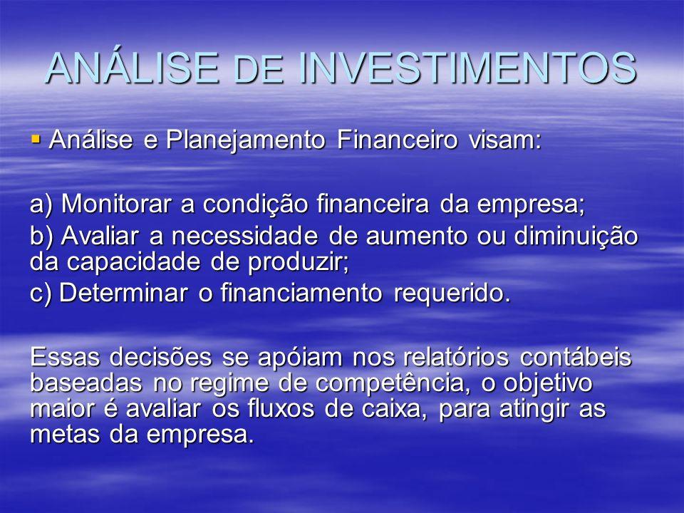 ANÁLISE DE INVESTIMENTOS Análise e Planejamento Financeiro visam: Análise e Planejamento Financeiro visam: a) Monitorar a condição financeira da empre