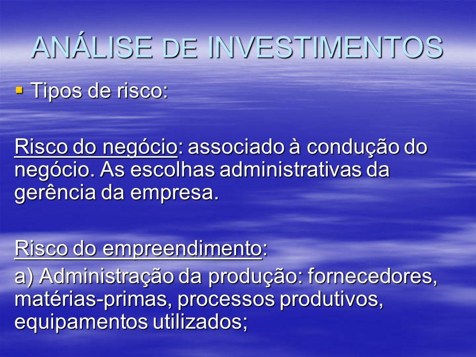 ANÁLISE DE INVESTIMENTOS Tipos de risco: Tipos de risco: Risco do negócio: associado à condução do negócio. As escolhas administrativas da gerência da