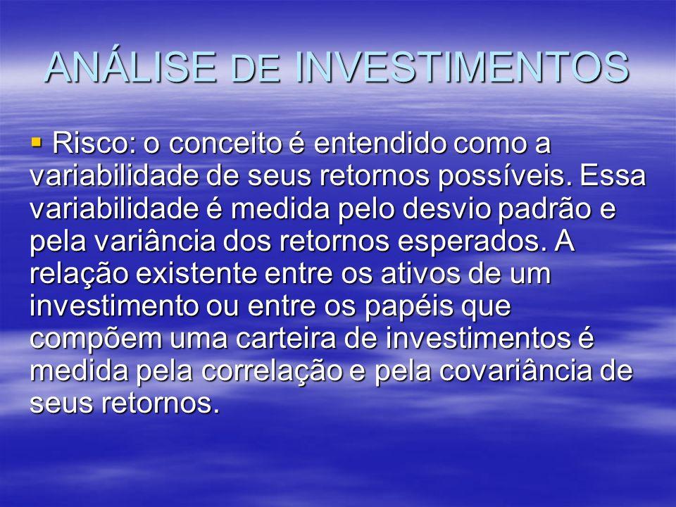 ANÁLISE DE INVESTIMENTOS Risco: o conceito é entendido como a variabilidade de seus retornos possíveis. Essa variabilidade é medida pelo desvio padrão