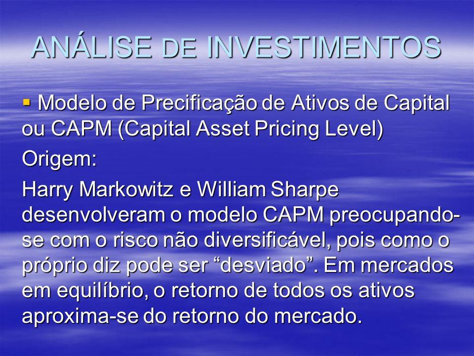ANÁLISE DE INVESTIMENTOS Modelo de Precificação de Ativos de Capital ou CAPM (Capital Asset Pricing Level) Modelo de Precificação de Ativos de Capital