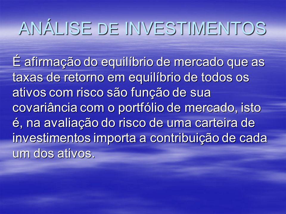ANÁLISE DE INVESTIMENTOS É afirmação do equilíbrio de mercado que as taxas de retorno em equilíbrio de todos os ativos com risco são função de sua cov