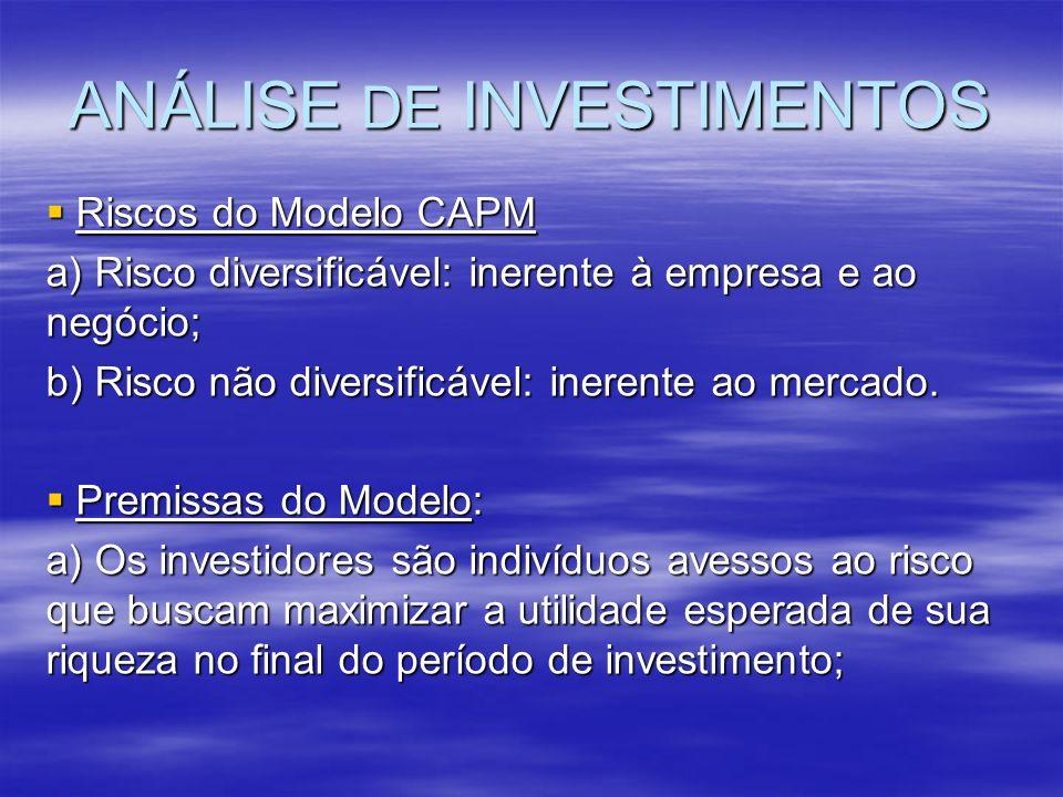 ANÁLISE DE INVESTIMENTOS Riscos do Modelo CAPM Riscos do Modelo CAPM a) Risco diversificável: inerente à empresa e ao negócio; b) Risco não diversific