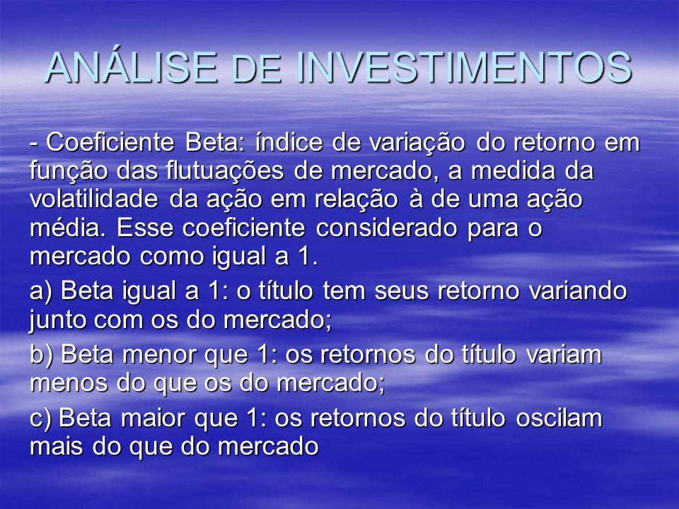 ANÁLISE DE INVESTIMENTOS - Coeficiente Beta: índice de variação do retorno em função das flutuações de mercado, a medida da volatilidade da ação em re