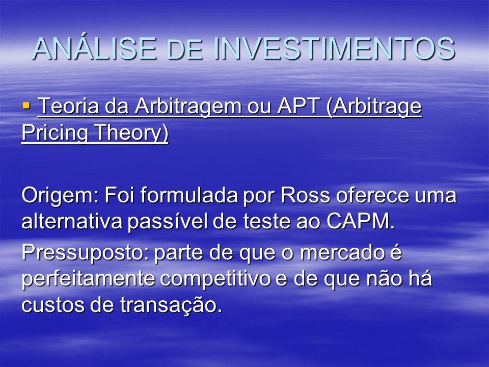 ANÁLISE DE INVESTIMENTOS Teoria da Arbitragem ou APT (Arbitrage Pricing Theory) Teoria da Arbitragem ou APT (Arbitrage Pricing Theory) Origem: Foi for