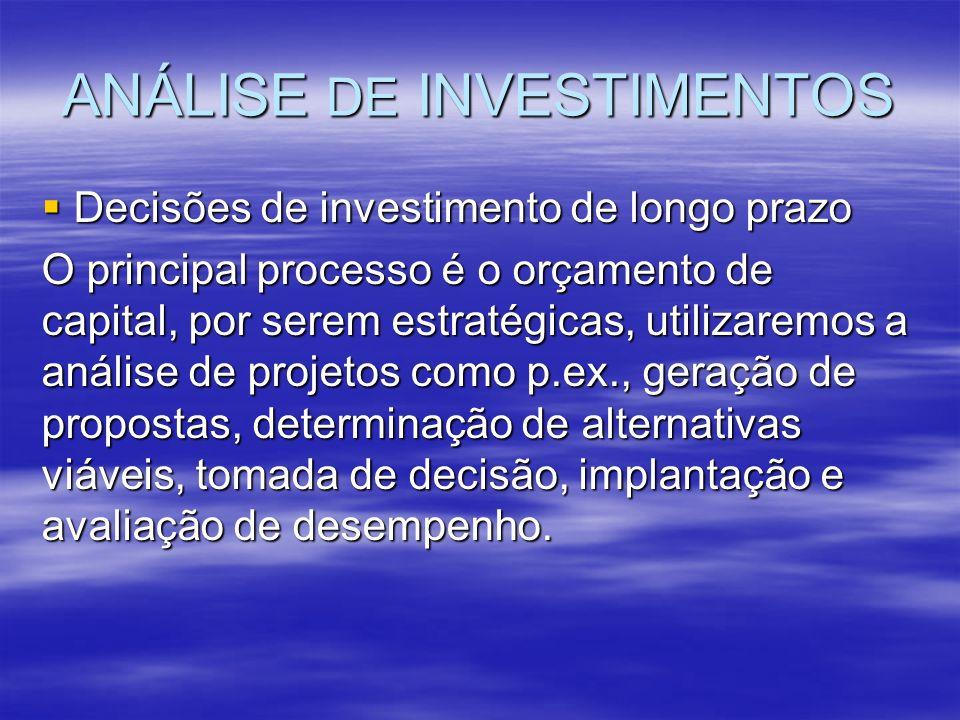 ANÁLISE DE INVESTIMENTOS Decisões de investimento de longo prazo Decisões de investimento de longo prazo O principal processo é o orçamento de capital