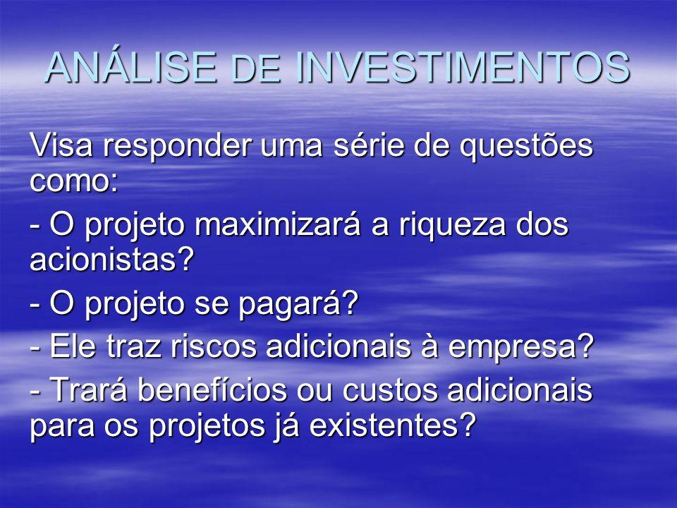 ANÁLISE DE INVESTIMENTOS Visa responder uma série de questões como: - O projeto maximizará a riqueza dos acionistas? - O projeto se pagará? - Ele traz