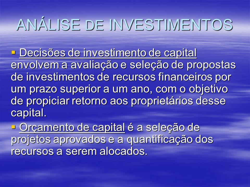 ANÁLISE DE INVESTIMENTOS Decisões de investimento de capital envolvem a avaliação e seleção de propostas de investimentos de recursos financeiros por
