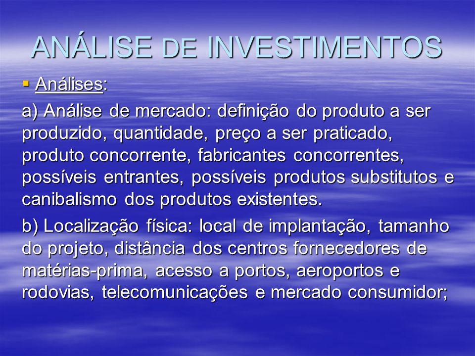 ANÁLISE DE INVESTIMENTOS Análises: Análises: a) Análise de mercado: definição do produto a ser produzido, quantidade, preço a ser praticado, produto c